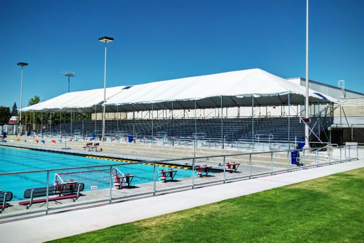 Bleacher foundations at Clovis West Aquatics Center